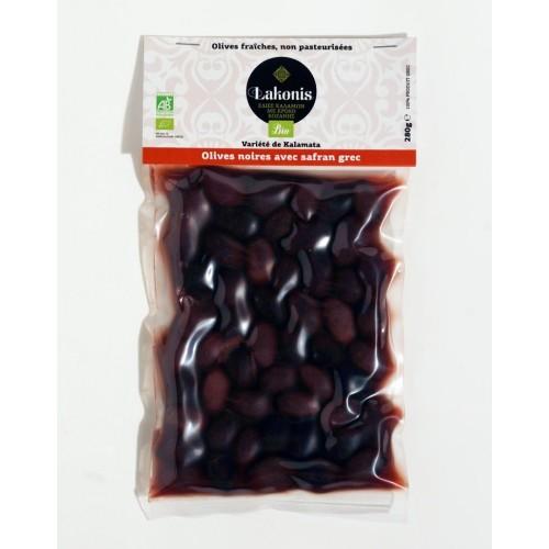 Olives de Kalamata noires au safran BIO